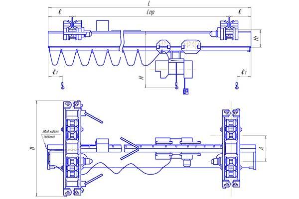 Кран мостовой КЭП, электрический однобалочный подвесной